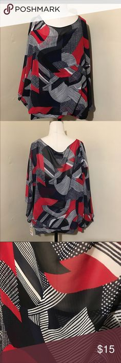 Beautiful dressy top Red/white and navy blue festive top, attached undershirt, bat sleeves and banded on the bottom, pre loved in excellent condition Alfani Tops Blouses