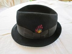 Black Wool Fedora Hat Size 7 3 8 Large 23 inches Adam 5th Ave. Black Grosgrain  Ribbon Band w  Feather Leather Liner 1950 s- 1960 s Vintage 5d38f261669c
