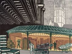 This is a beautiful a new giclee reproduction of a linocut of Borough Market created by Edward Bawden in One in the series Six London Market prints Bawden produced it was first published by Curwen Prints in This is a stunning high quality prin Linocut Prints, Art Prints, London Market, Royal College Of Art, You Draw, Urban Art, Graphic Illustration, Printmaking, Illustrators