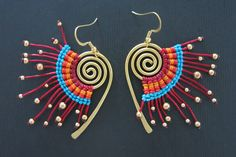 Unique Handmade Brass  Earrings Fire Red and Gold