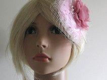 UNIKAT Haarschmuck rosé ivory Blume Federn Perlen