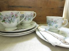 Vintage Luncheon Dish Set China Snack Set Cottage by WrensAttic