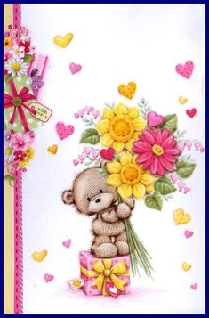 Florynda del Sol ღ☀¨✿ ¸.ღ Anche gli Orsetti hanno un'anima…♥ Tatty Teddy, Bear Cartoon, Cute Cartoon, Happy Birthday Wishes, Birthday Greetings, Bear Pictures, Cute Pictures, Cute Baby Wallpaper, Bear Graphic