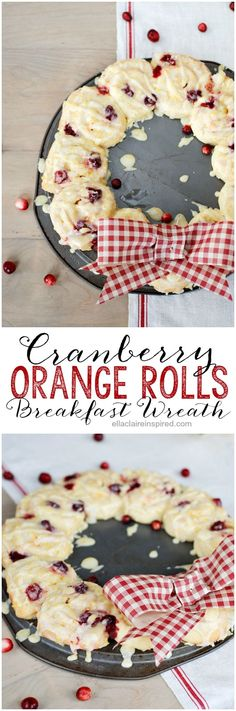 This Cranberry Orange Rolls Breakfast Wreath is perfect for Christmas morning or for overnight holiday guests. Christmas Morning Breakfast, Christmas Brunch, Christmas Cooking, Christmas Kitchen, Christmas Desserts, Holiday Treats, Christmas Treats, Holiday Recipes, Christmas Recipes