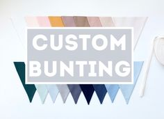 Custom Personalized Fabric Bunting Garland Banner - Choose Your Colours - Made to Order - Build a Bunting by FeteDesignsCanada on Etsy Bunting Garland, Fabric Bunting, Flag Colors, Colours, First Birthday Parties, Dusty Rose, Custom Fabric, To My Daughter