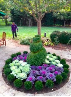 39 Tricks Flower Bed Ideas to Beautify Front Yard Landscape Flower beds may also be changed as time continues on or as space permits. Succulents Garden, Planting Flowers, Flower Gardening, Garden Art, Garden Design, Flowering Kale, Ornamental Cabbage, Flower Bed Designs, Flower Landscape