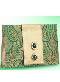 Glamorous Brocade Green Clutch Bag