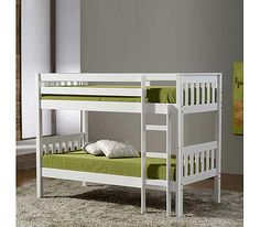 Birlea Furniture Ltd Seattle Solid Pine Bunk Bed in White Finish: Solid pine with white painted finish Sizes: Bunk bed frame: W104cm x D202cm x H156.5cm http://www.comparestoreprices.co.uk/bunk-beds/birlea-furniture-ltd-seattle-solid-pine-bunk-bed-in-white.asp