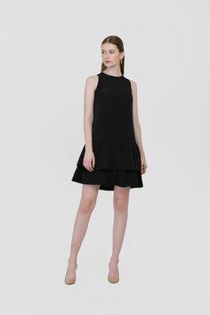 Hannah Ruffle Dress in Black Ruffle Dress, High Neck Dress, Spring, Clothes, Black, Dresses, Fashion, Turtleneck Dress, Outfits