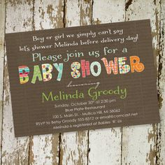 baby shower invitations gender neutral digital by katiedidesigns, $13.00