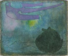 William Baziotes (US 1912-1963), Night, oil/canvas, 1953. Using delicate washes of color and imagery culled from nature, from paleontology, and from his own free associations, Baziotes invented a new type of landscape painting in the 1940s. In sparse, horizonless compositions of simple biomorphic shapes, he evoked a liquid underworld of plants and organisms and the atmosphere of primeval life as natural metaphors for inner psychic realms. Collection Philadelphia Museum of Art.