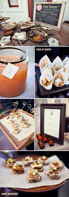 fish + chips, mini reubens, lasagne cupcakes. Catering by Heirloom LA. Photography: Joy Marie Photography