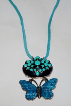 Leather Pendant Necklace Butterfly Glass Turquoise Black Stone Handcrafted