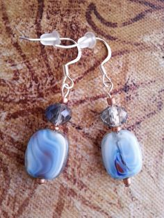 Earrings - Baby Blue Glass and Crystal Beads, Dangle Earrings, Handmade Jewelry, Light Blue, Unique, One of a Kind Style Only $10.20 with coupon code HOLIDAY