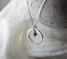 Hammered Silver Hoop Pendant with Swarovski® Silver Night Crystal Charm £25.00