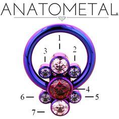 Anatometal Titanium Captive Cluster Forward Facing Bezel-Set with 7 gem Ring
