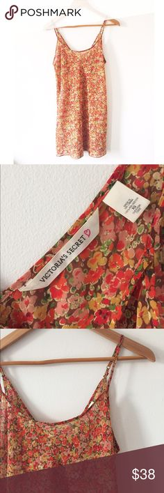 Victoria's Secret • Vintage Cami Dress Sexy orange/red/pink/yellow cami slip lingerie dress, size XS. Vintage Victoria's Secret. Adjustable straps. Tiny floral print Victoria's Secret Intimates & Sleepwear Chemises & Slips