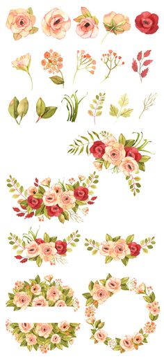Pink and red rose wreaths, Bohemian rose bouquets watercolor clip art