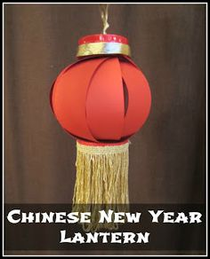Paper, 2 plastic cups, ribbon, fringe, and glue are all you need to make a fabulous lantern to celebrate Chinese New Year!