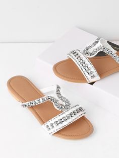 Shop Rhinestones Decorated Flat Slides online. SheIn offers Rhinestones Decorated Flat Slides & more to fit your fashionable needs.