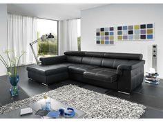 Canapé d'angle fixe gauche 4 places ARPEGIO coloris noir prix promo Canapé Conforama 747.00 € TTC au lieu de 1 247 €