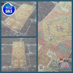 Vintage rug, Turkish rug, Small rug carpet, Door mat rug, Rug, Boho decor, Handmade small rug, FREE SHİPPİNG !! 1'4'' x 3'2'' = 42 x 100 cm #Rug #AreaRugCarpet #TurkishRugs #VintageRug #DoorMatRug #VintageRugs #SmallRugCarpet #BohoDecor #TurkishRug #HandmadeRug Rugs On Carpet, Carpets, Turkey Colors, Kilims, Small Rugs, Vintage Rugs, Boho Decor, I Shop, Free Shipping