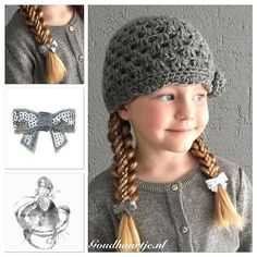 """""""Stacked ribbon braids with a cute gray and white bow from Goudhaartje.nl I did this hairstyle for the #sj_beanie contest hold by the very talented and creative @sj_hair  #stackedbraid"""