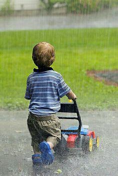 Playing in a warm summer rain