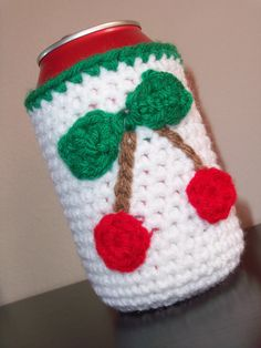 crochet Koozie NO CHERRIES  Maybe a Dragonfly or a Celtic design for me      ~~<3~~