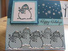 Snowman stamp from this Tags and More set. Flocking (snow) and  embossed snowflakes.