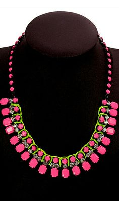 Soooo trendy and crazy necklace...Only on Ahai! #Fluorescent #pink #rhinestone #necklace #pink #green #short #ahai @Anna Haiko