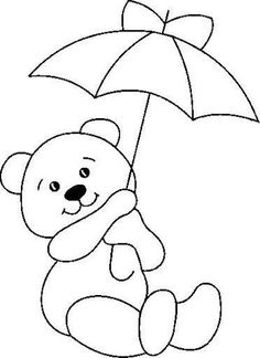 Delicate Corner: Patchcolagem Risks and Russian point BearsStained Glass Teddy Bear with Umbrella PatternCute pattern for photo frame - umbrella could be any color(s)! Applique Templates, Applique Patterns, Applique Designs, Quilt Patterns, Embroidery Designs, Teddy Bear Coloring Pages, Colouring Pages, Coloring Books, Quilt Baby