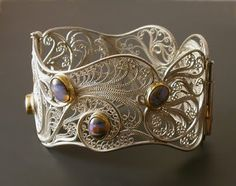 Victoria Lansford filigree hinged-cuff bracelet called, Stardust on my Sleeve.