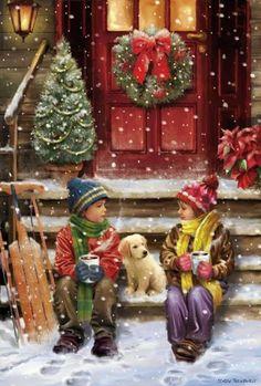 Christmas Scenery, Christmas Past, Christmas Pictures, Winter Christmas, Vintage Christmas Cards, Xmas Cards, Old Fashioned Christmas, Christmas Paintings, Christmas Wallpaper
