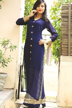 Indgo #blue & #cream #georgette floor length #trendy #kurti is a #best example of #trend and #style which makes the wearer look #lovely and  #admirable #Indian #Fashion #Designer Beautiful #collection #new #fancy #summer #tunics #fullsleeves #darkblue #gorgeous #glam #ravishing #sexy #MustHave #Wardrobe #womenswear #ladies #girls #leggings #casual #party #festive