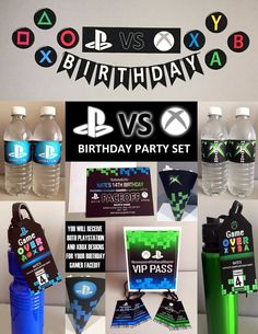 xbox birthday party Star Wars Personalized Birthday Invitations New Playstation Vs Xbox theme Party Set Gamer Party Printable 13th Birthday Parties, 14th Birthday, Birthday Games, Birthday Party Themes, Video Game Party, Party Games, Xbox Party, Personalized Birthday Invitations, Party Set