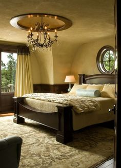 Love this bedroom! Gold Walls with Dark Wood - perfect #rug choice