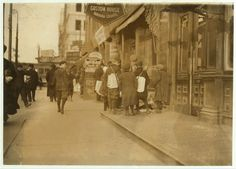 Some of Newark's small newsboys. Afternoon.  Location: Newark, New Jersey. Date Created/Published: 1909 December.