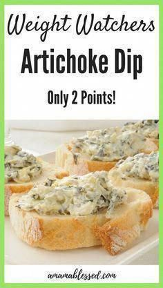 2 Point Artichoke Dip – A Mama Blessed WW Recipes This warm Weight Watchers Artichoke dip is a must have this holiday season! With Smartpoints, this dip is easy to make and is great for a Weight Watchers appetizer. Stay on track without sacrificing taste! Ww Recipes, Quick Recipes, Low Carb Recipes, Recipies, Party Recipes, Skinny Recipes, Recipes Dinner, Breakfast Recipes, Weight Watchers Snacks