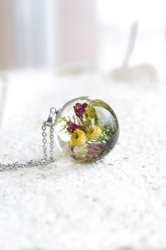 Wild Flowers Necklace - One-of-a-kind gift idea for her - Summer Memories Nature jewelry