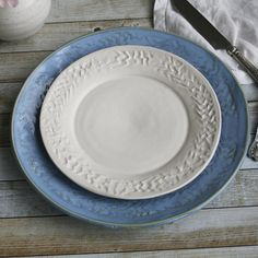 Two Rustic Dinner Plates Handcrafted Stoneware Dinnerware Pair of Dishes in Blue and White Glazes Ready to Ship Made in USA & Pin by gdlp on * culinary dinnerware patterns   Pinterest