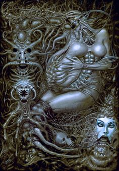 Xeeming is a digital artist from Ukraine. His incredibly detailed illustrations mix horror and surrealism in a brilliant way. Don't hesitate to check out Xeeming's portfolio to see much more. Arte Horror, Horror Art, Hr Giger Art, Xenomorph, Dark Fantasy Art, Dark Art, Art Alien, Giger Alien, Arte Robot