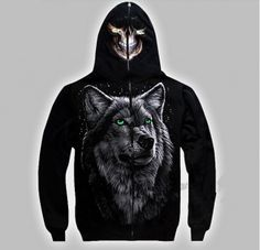 3D  luminous Wolf men hoodies cool sports sweatshirt with skull hip hop style