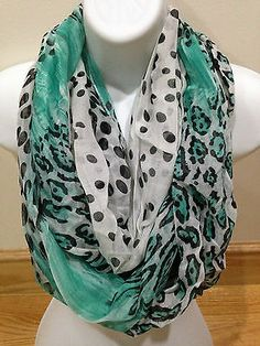 D&Y Women Fashion Dots and Leopard Circle Loop Forever Infinity Scarf (Teal)