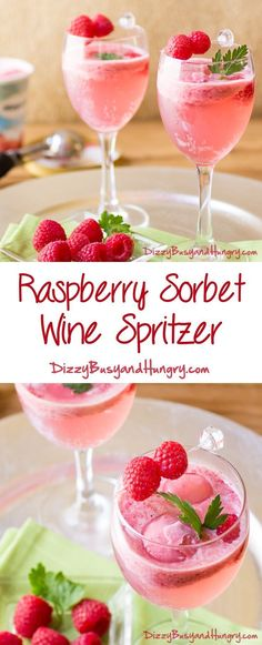 Raspberry Sorbet Wine Spritzer - So pretty, refreshing, and delicious! http://www.dizzybusyandhungry.com/raspberry-sorbet-wine-spritzer/