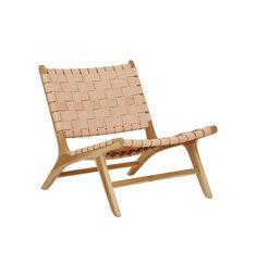 Fenton & Fenton –               Leather Marlboro Chair - Teak & Natural