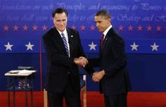149 10/16/12 - President Barack Obama and Republican presidential candidate and former Massachusetts Gov. Mitt Romney shake hands at the end of the second presidential debate at Hofstra University in Hempstead, N.Y., Tuesday, Oct. 16, 2012. ((AP Photo/Charles Dharapak))