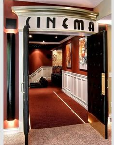 Movie Room Design, Pictures, Remodel, Decor and Ideas - page 17 If I could afford it, this would be my preferred entrance to my media room! Movie Theater Rooms, Home Theatre Rooms, Movie Theater Basement, Theater Room Decor, Home Cinema Room, Deco Cinema, Cinema Theatre, Media Room Design, Media Room Decor