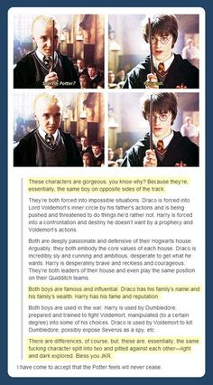 Draco and Harry- The same boy. This is why I will never stop loving these books and these characters.