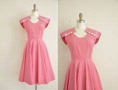 vintage 1950s dress / 50s dress / dark pink by simplicityisbliss, $138.00
